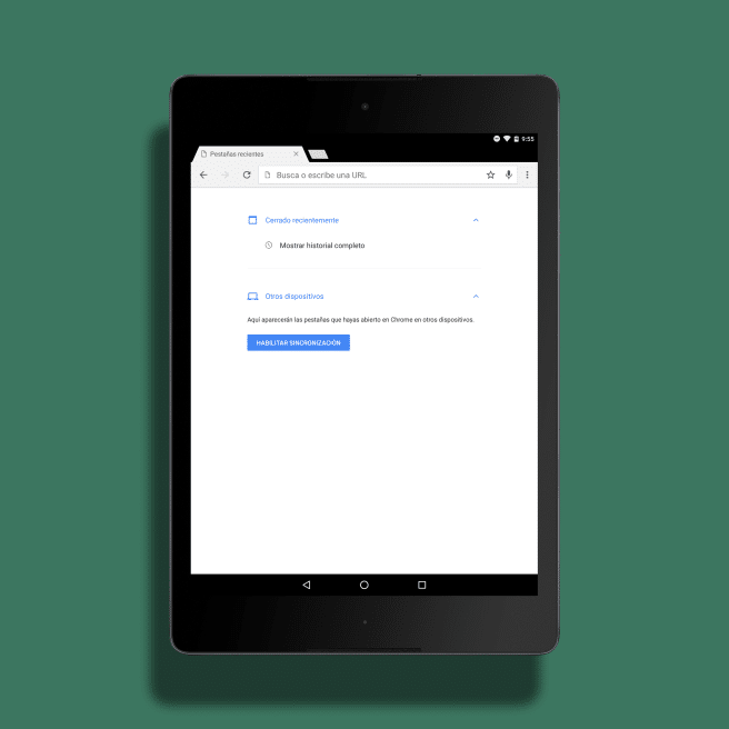 Nexus 9 ajustes Chrome