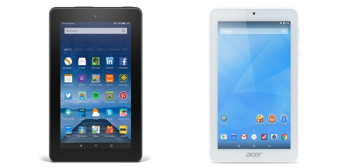Amazon Fire 7 Acer Iconia One