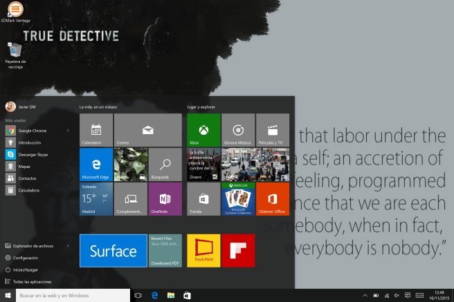 Tablet Surface Windows 10 menu aplicaciones