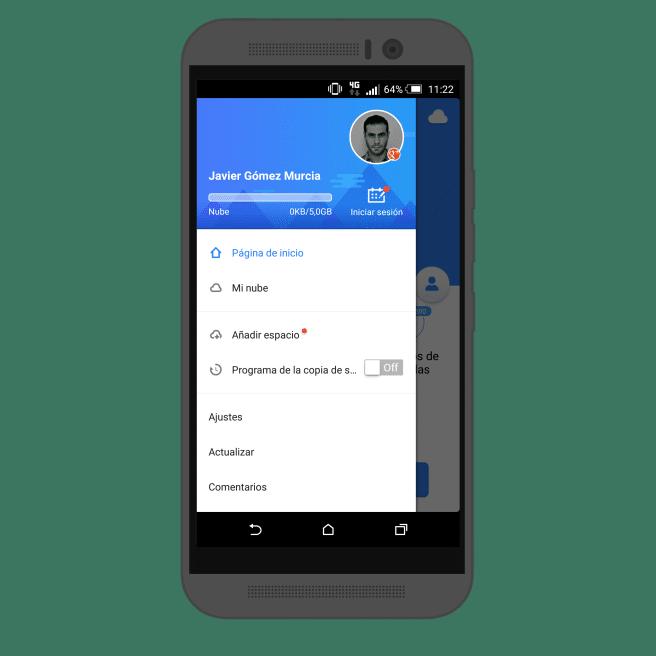 Copia de seguridad Android menu de opciones