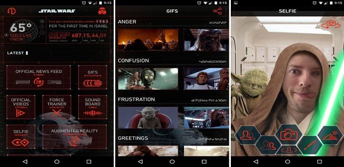 star wars app interfaz