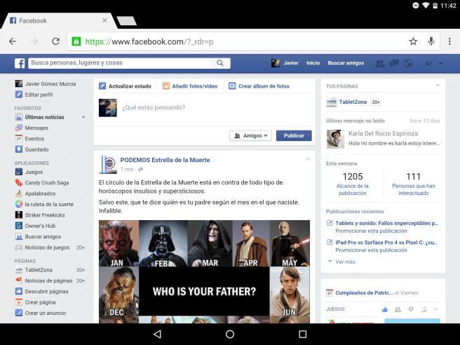 Facebook Chrome en Android