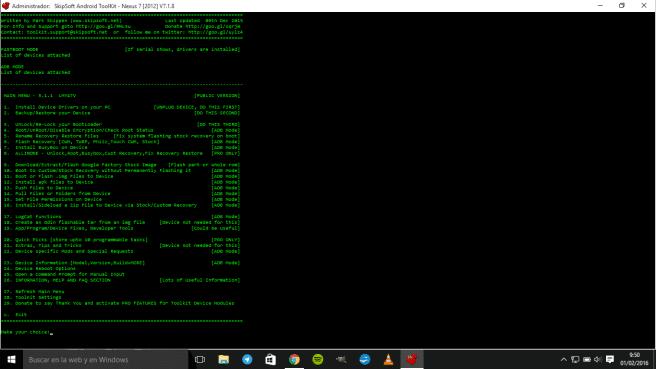 herramienta para root menu de operaciones
