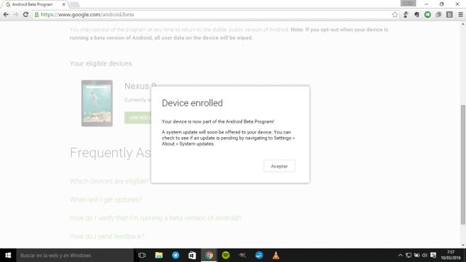 Nexus para programa Android beta