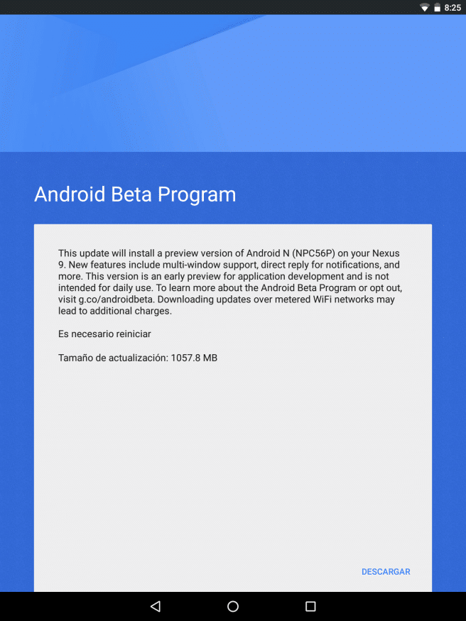 Nexus 9 actualizando a Android N