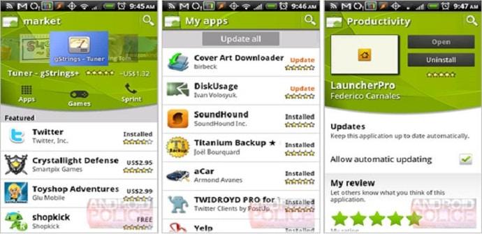 android market pantalla