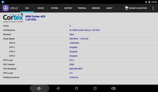 tablet SPC 64 bits datos del procesador