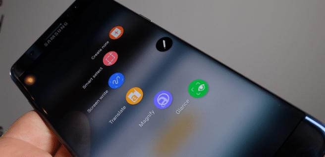 Galaxy Note 7 menu edge