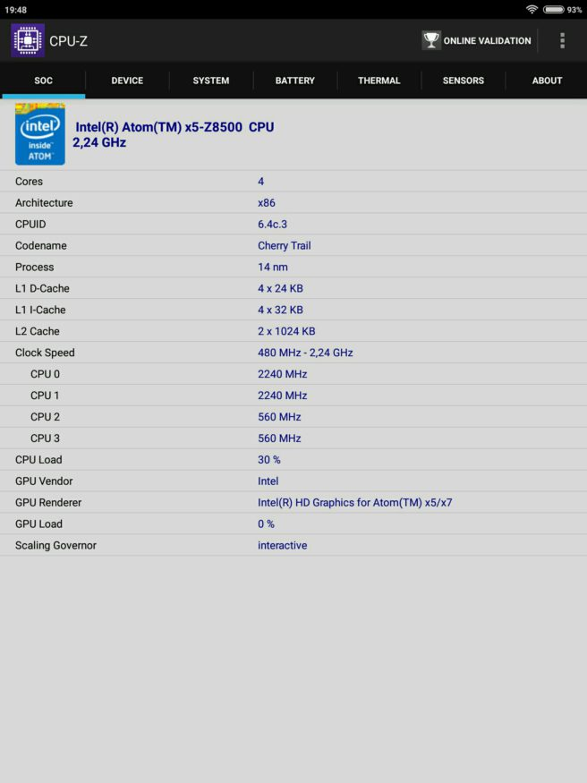tablet mi Pad 2 Android cpu Z