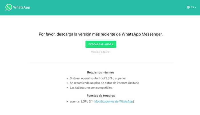 Instalar WhatsApp en tablets Android