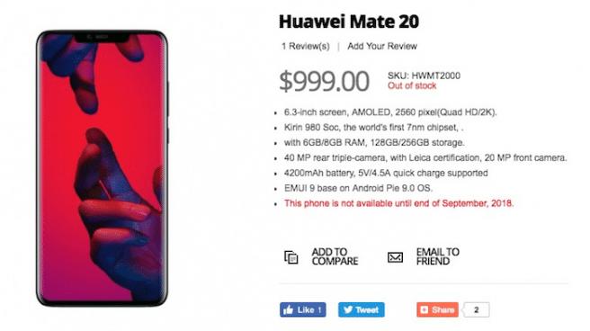 Huawei mate 20 filtrado